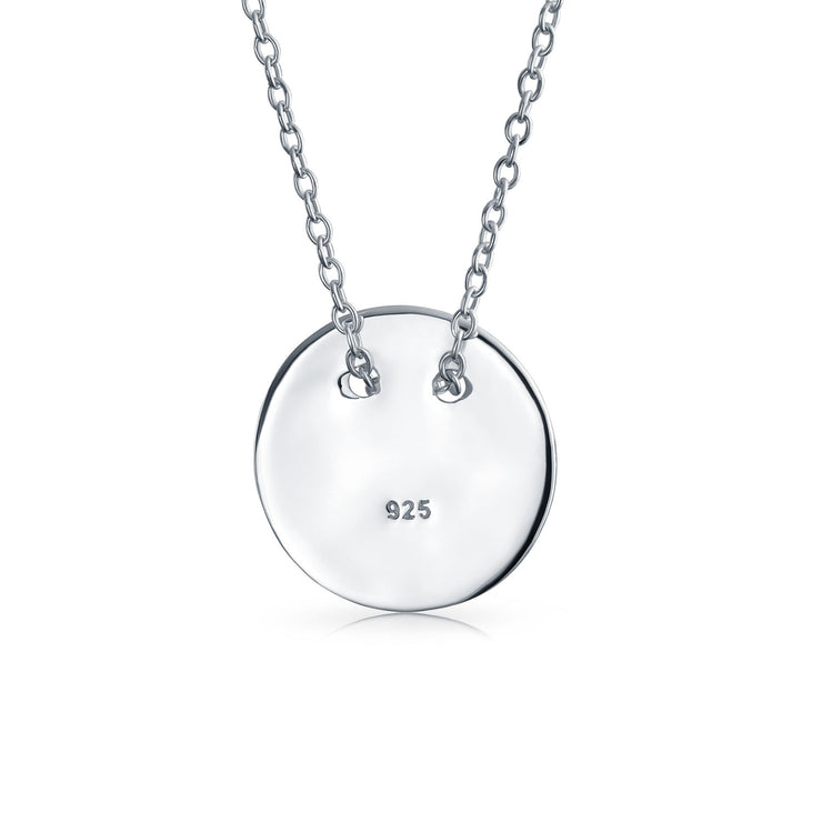 High Round Disc Slide Pendant 925 Sterling Silver Necklace 16In
