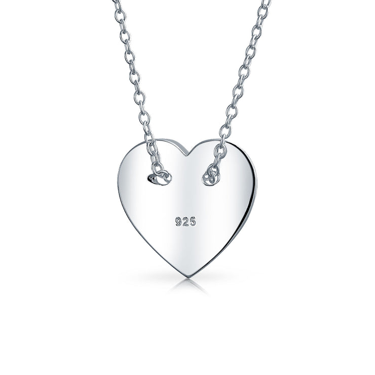 Minimalist Simple Heart Engravable Monogram Pendant Necklace For Women