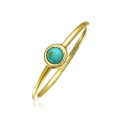 Compressed Blue Turquoise Gold Plated Silver Midi Knuckle Ring 1MM
