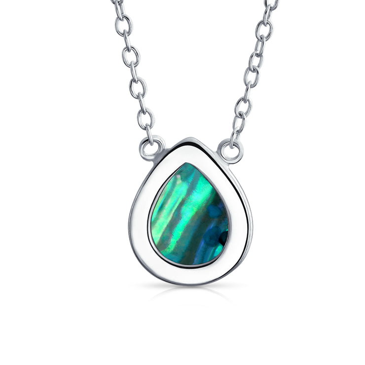 Small Teardrop Pear- Pendant Abalone Shell Necklace Sterling Silver