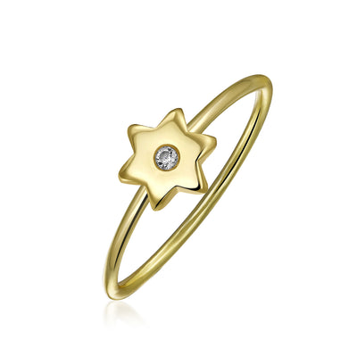 CZ Gold Plated Silver Midi Knuckle Star Celestial Ring 1MM Band