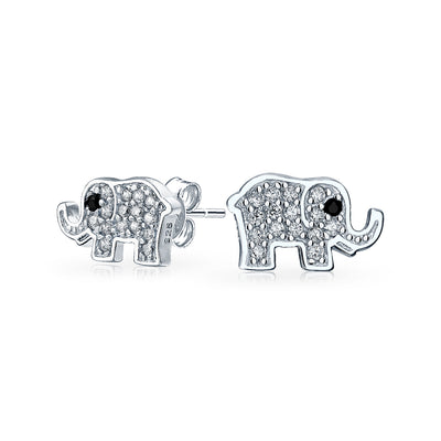 Wise Elephant Shimmering Cubic Zirconia Stud Earrings Sterling Silver