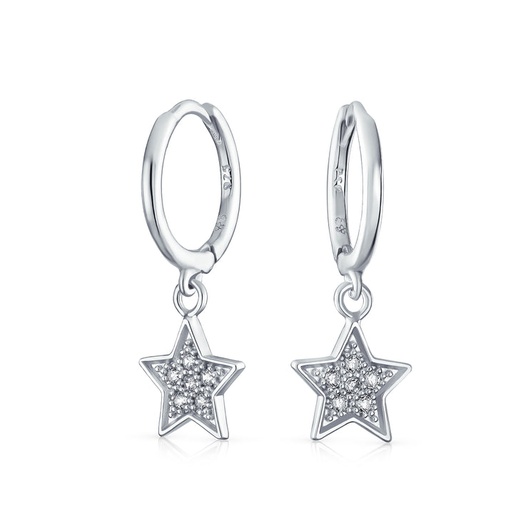 Pave CZ USA Patriotic Star Hoop Kpop Earrings Sterling Silver
