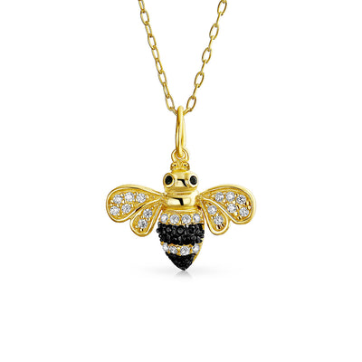 Bumble Bee Queen Bee Golden Black Pendant Necklace 14K Gold Plate