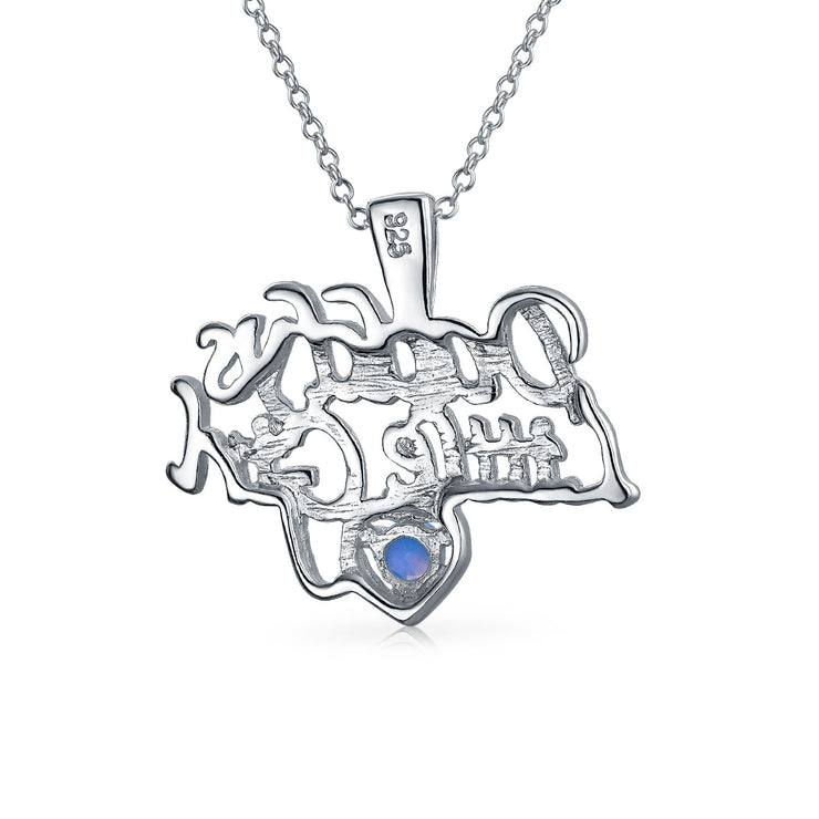 Daddys Little WORD Blue Created Opal Pendant Necklace Sterling Silver