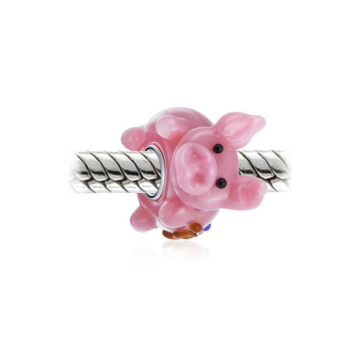 Pink Pig 3D Lampwork Murano Glass Bead Charm 925 Sterling Silver