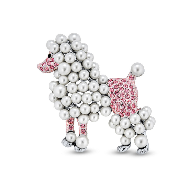 Statement Crystal White Imitation Pearl Pink Dog Poodle Brooch Pin