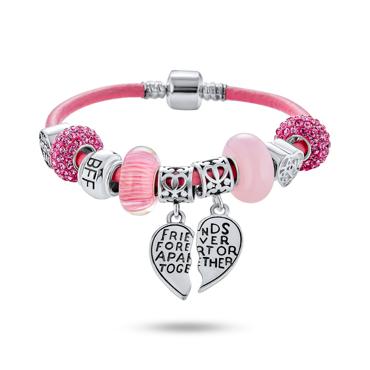 Best Friend Sister Split Heart Leather Charm Bracelet Sterling Silver