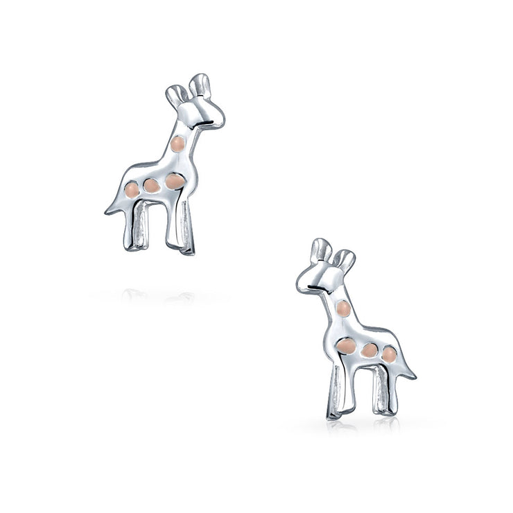 Small Pink Zoo Animal Giraffe Stud Earrings Women 925 Sterling Silver