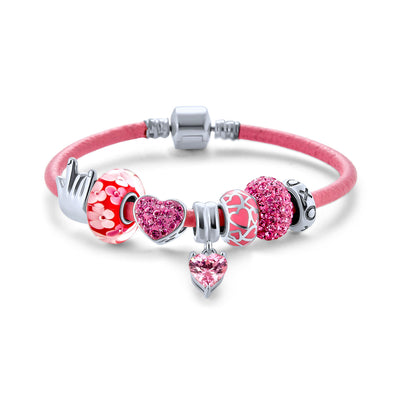 Love Heart Multi Bead Charms Bracelet Pink Leather 925 Sterling Silver