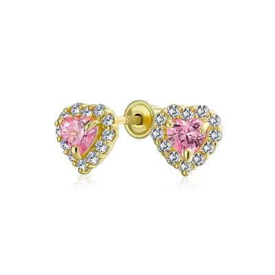 .25CT Pink Heart Halo CZ Stud Earring Imitation Topaz 14K Yellow Gold