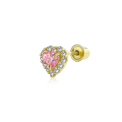 Pink Helix Cartilage Ear Lobe CZ Heart Stud Earring 14K Gold Screwback