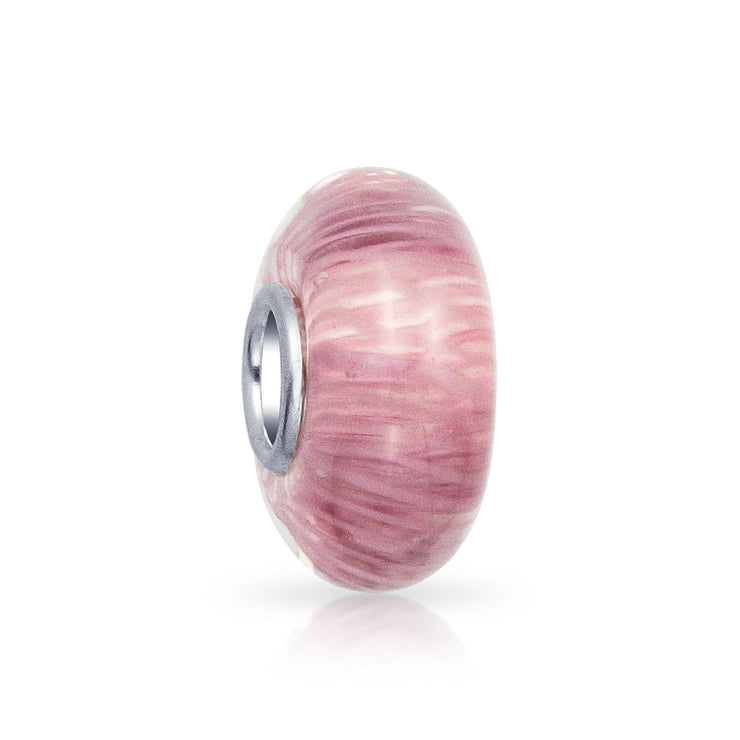 Solid Pink Mauve Striped Murano Glass Spacer Charm Bead .925 Silver