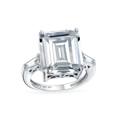 925 Sterling Silver 7CT AAA CZ Emerald Cut Engagement Ring Baguette