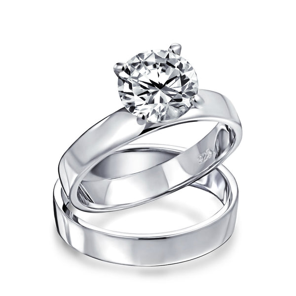 2ct Solitaire Band Aaa Cz Engagement Wedding Ring Set Sterling