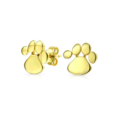 Dog Cat Puppy Paw Print Stud Earring 14K Gold Plated Sterling Silver