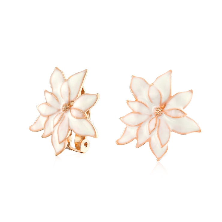 Off Red Water Lily Flower Clip On Earrings Ears Rose Gold Plated