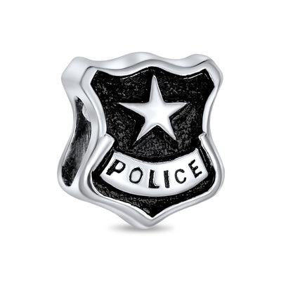 Serve Protect Police Officer Shield Black Bead Charm Sterling Silver