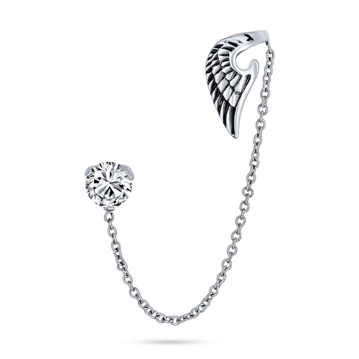Angel Wing Feather Cartilage Earring Ear Cuff CZ Stud Stainless Steel