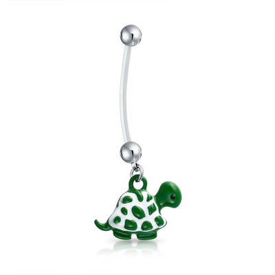 Bioflex Green Turtle Bar Ball Navel Belly Ring Surgical Steel 14G