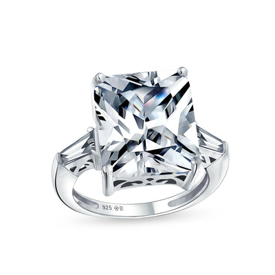 925 Sterling Silver 7CT AAA CZ Princess Cut Engagement Ring Baguette