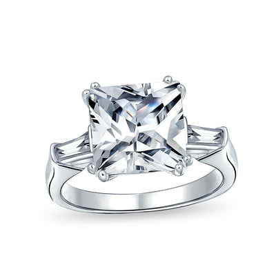5CT Square Princess Cut AAA CZ Side Baguette Solitaire Engagement Ring