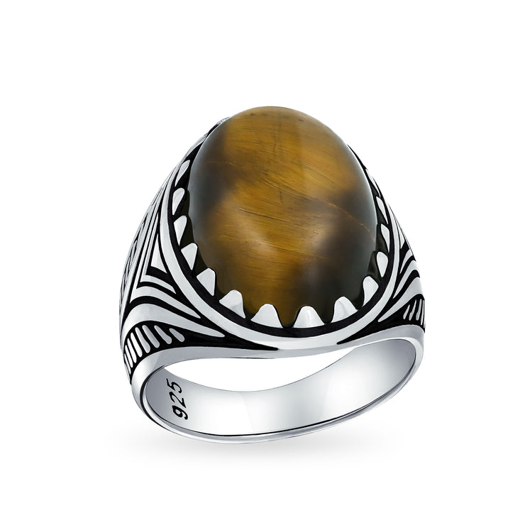 Mens Brown Tiger Eye Oval Cabochon Gemstone Claw Ring Solid 925 Silver