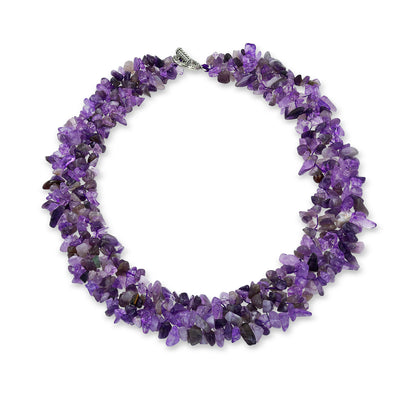 Chunky Purple Amethyst Stone Chips Statement Bib Necklace Collar