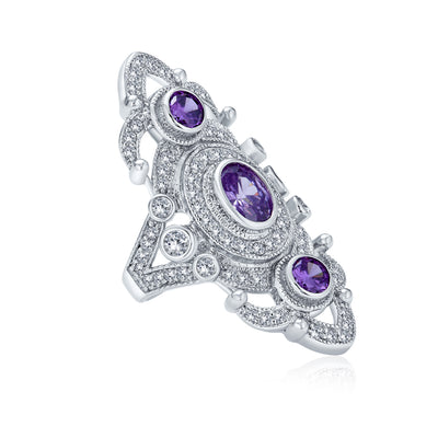 Purple Armor Full Finger Ring Imitation Amethyst CZ Silver Plated