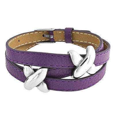 Love X Kisses Slide Charm Wrap Bracelet Purple Leather Stainless Steel