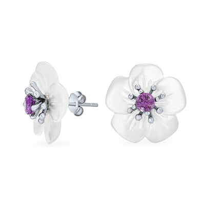 Mother of Pearl MOP Flower Amethyst Stud Earrings Sterling Silver