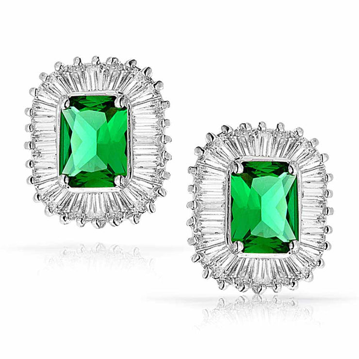 Green Rectangle CZ Halo  Simulated Emerald Cut Stud Earrings Silver Plated