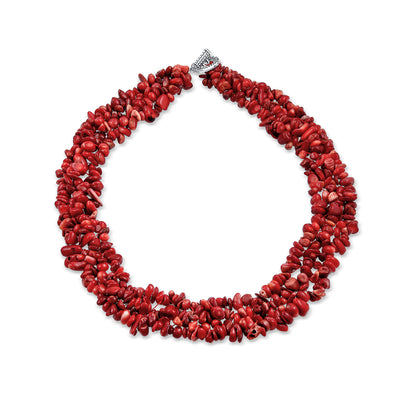 Red Coral Gemstone Statement Multi Strand Necklace Silver Plated