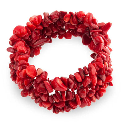 Red Coral Chip Stone Wide Chunky Cluster Multi Strand Stretch Bracelet