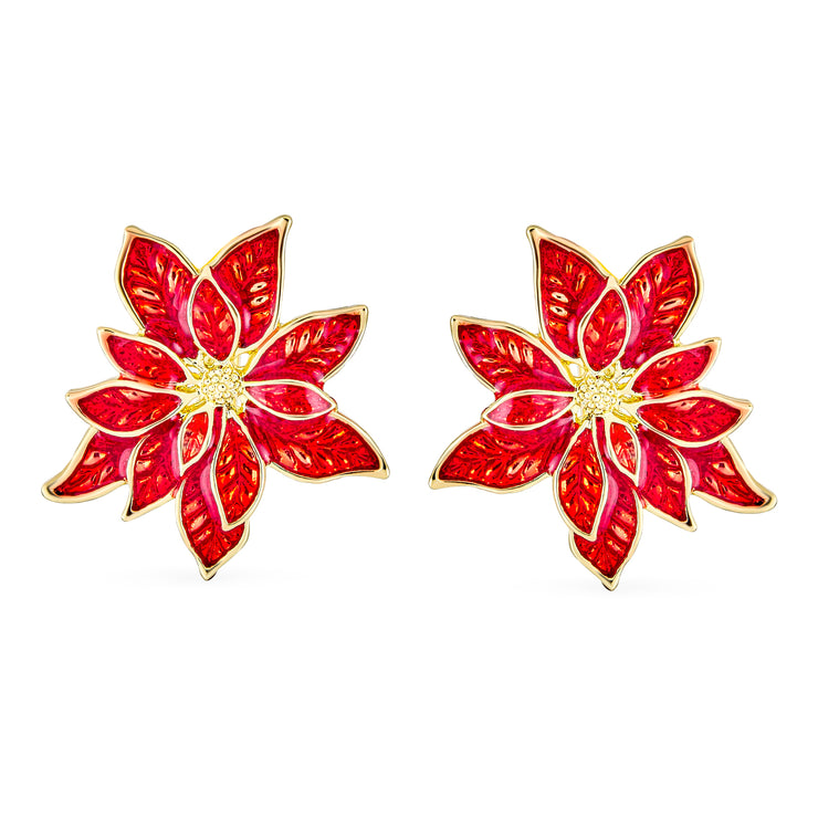 Poinsettia Flower Christmas Red Clip On Earrings Rose Gold Plated
