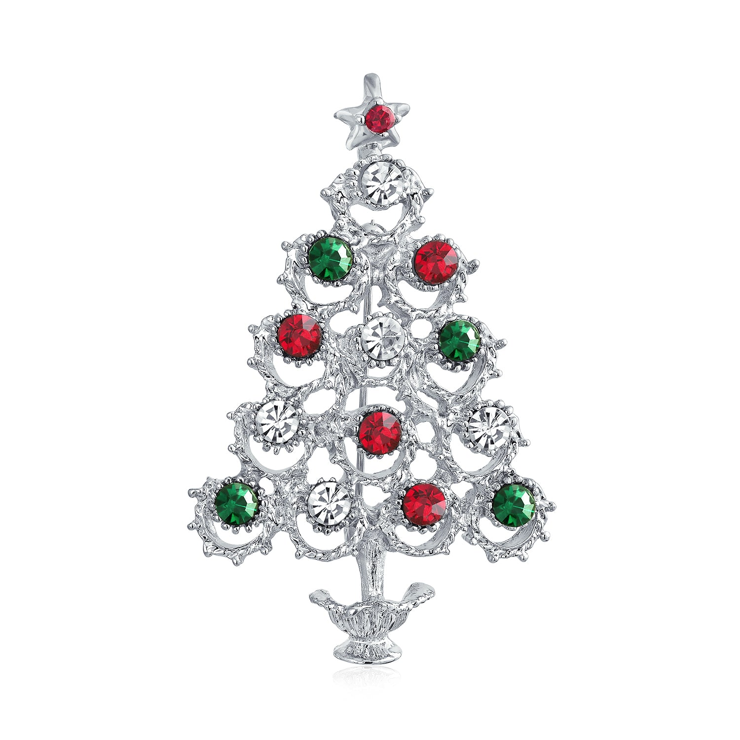 Crystal White Red Green Large Decorated Christmas Tree Brooch Pin Bling Jewelry