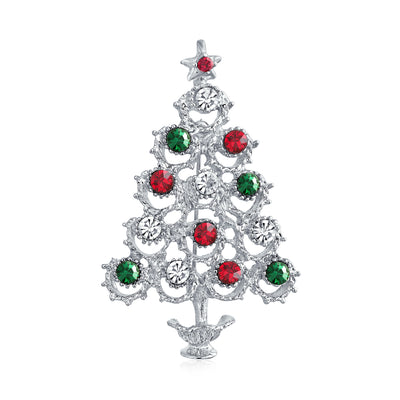 Decorated Christmas Tree Brooch Pin Red Green Crystal Silver Plated
