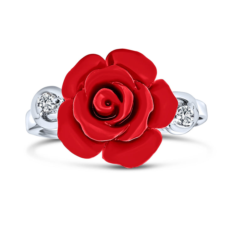 CZ Accent Flower Red Craved Rose Statement Ring 925 Sterling Silver