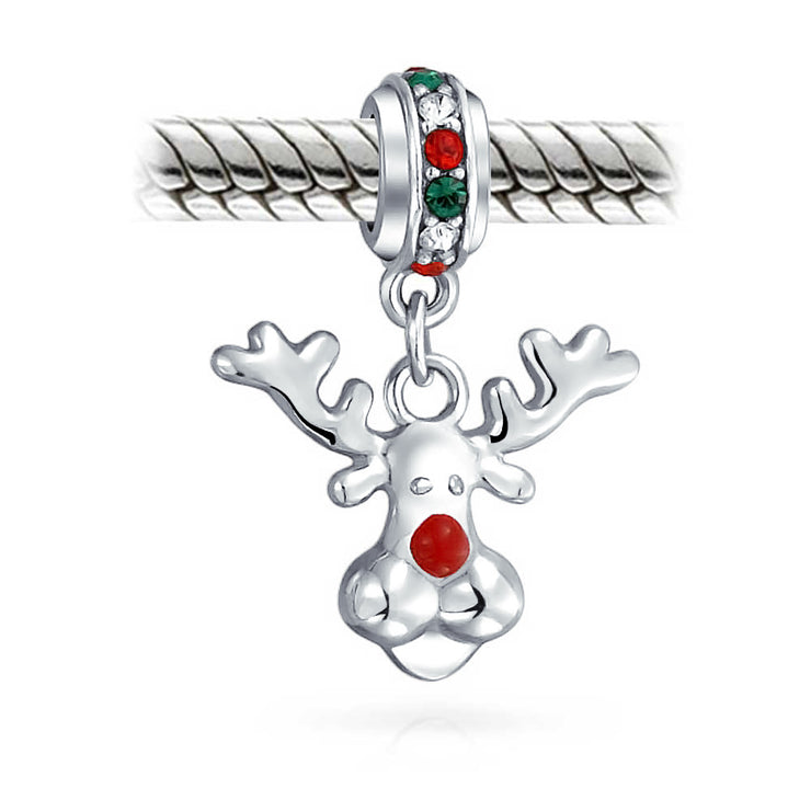 Christmas Red Nosed Reindeer Dangle Charm Bead 925 Sterling Silver