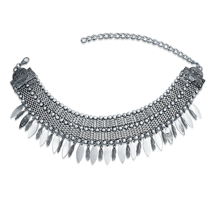 Native American Feather Wide Choker Silver Tone Necklace