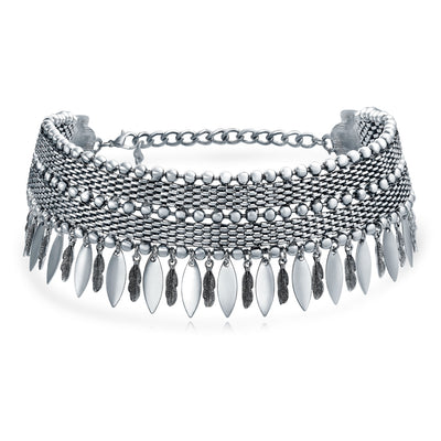 Native American Feather Wide Choker Silver Tone Rhodium Plate Necklace