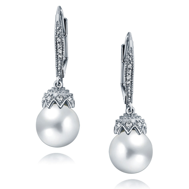 Bridal Crown Drop Ball Huggie CZ White Simulated Pearl Earrings