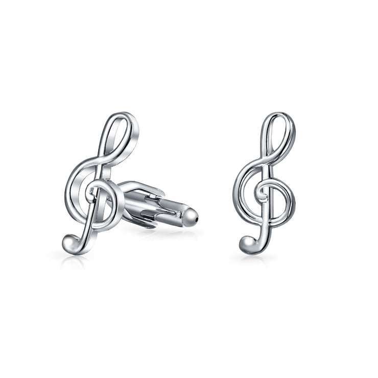 Musician G Clef Treble Music Note Cufflinks Stainless Steel