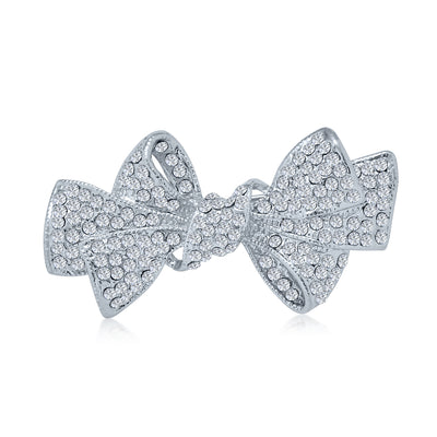 Fashion Statement Ribbon Shape Crystal Scarf Bow Brooch Pin