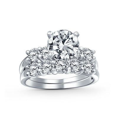 3.5CT Solitaire AA CZ Engagement Wedding Band Ring Set Sterling Silver