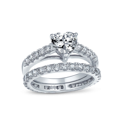 1CT 925 Sterling Silver AAA CZ Heart Wedding Engagement Ring Band Set