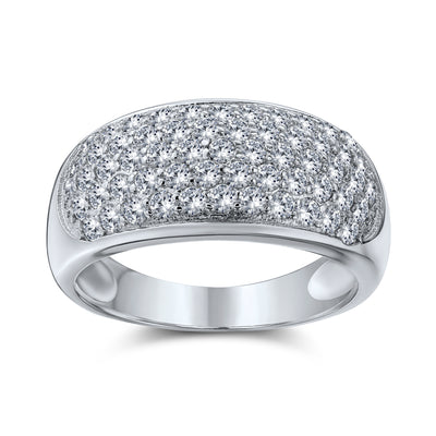 Wide Dome Pave AAA CZ Five Row Wedding Band Ring 925 Sterling Silver