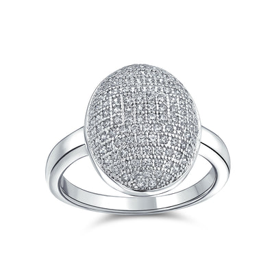 Oval Pave Dome AAA CZ Prom Pageant Statement Ring Silver Plated Brass