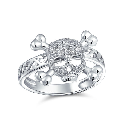 Goth Pave CZ Caribbean Pirate Skull Crossbones Ring Sterling Silver