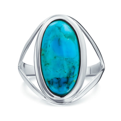 Native American Style Oval Enhanced Turquoise Ring 925 Sterling Silver